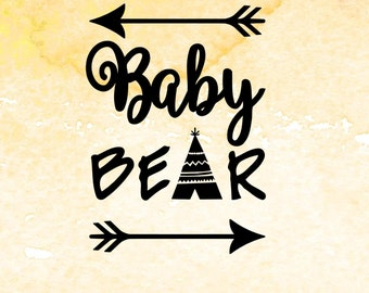 Baby Bear svg, digital design cutting files for Cricut, Cameo and other Vinyl Cutters. Arrow SVG, PDF, EPS files, bear cub