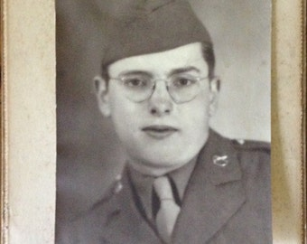 Military Vintage Original Photo 5x7 Black and White Army Retro Soldier with Glasses