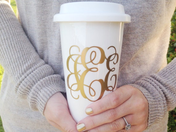 gold monogram coffee mug