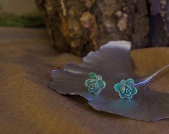 Antique Blue Rose Earrings