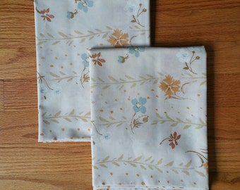Pair of Vintage Floral Pillow Cases White Brown and Blue
