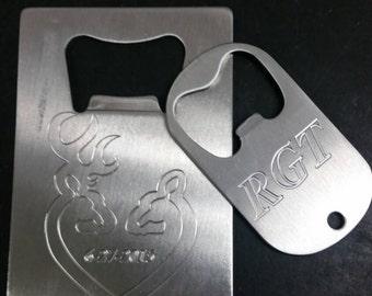 Wallet bottle opener and Keychain bottle opener custom engraved combo