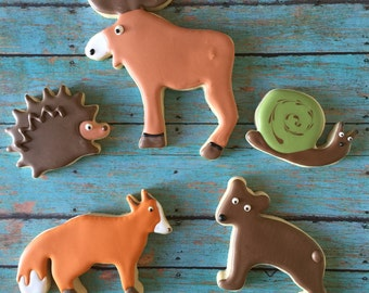 Woodland Cookies. Outdoor Cookies, Moose Cookies, Camping Cookies, Party Bags, Treat Bags, Dessert Table, Birthday Cookies, Cookie Gifts
