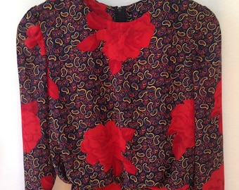 1980s multicolor paisley/floral print dress by Kono