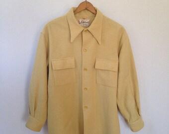1950s tan checked wool shirt by Lakeland