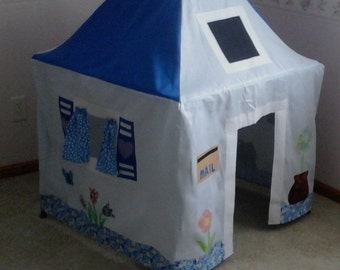Cute Pale Blue Country Cottage - Card Table Playhouse