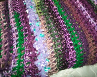 Purple & Green Crocheted Throw Blanket