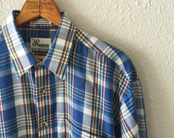 1980's Blue Plaid Polyester Cotton Blend Semi Sheer Men's Vintage Dress Shirt by Haband