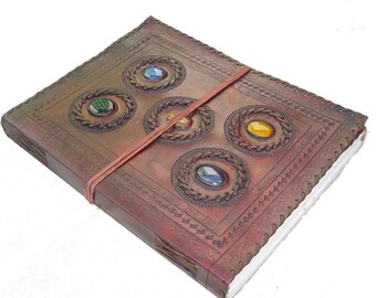 Large 5 Stone Stitched Leather Journal Notebook Large Blank Book A4 sketchbook Scrapbook Gift