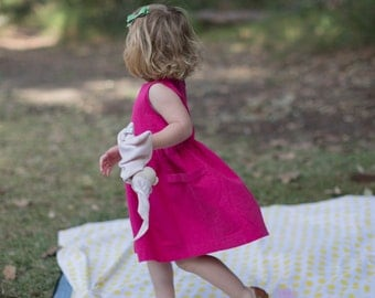 Hot Pink Toddler Dress, Birthday Outfit, Dress with Pockets, Girls Dress, Girl Dress Pockets, Party Dress, Linen Dress, Linen Dress Wedding