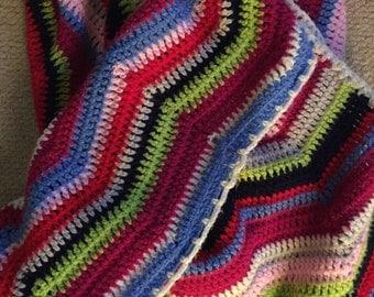 Crochet Blanket handmade Large MULTICOLOUR