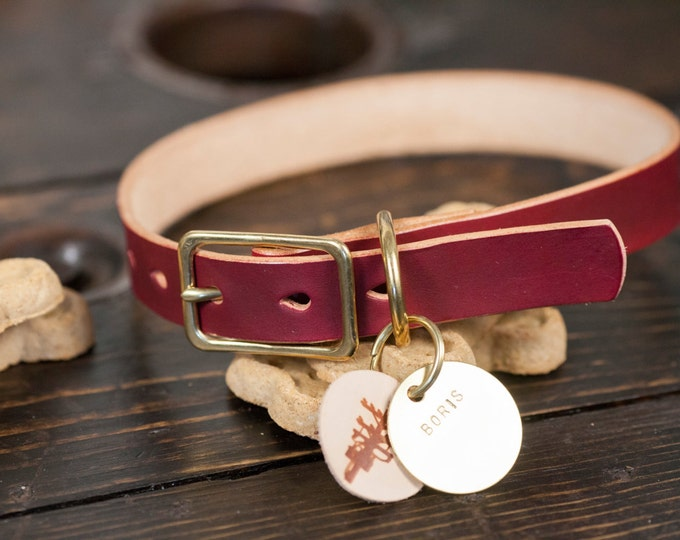 "1"" OxBlood Leather Dog Collar with Solid Brass Hardware - Custom Made to Order"