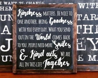 Kindess matters, we are all in this together FRAMED Hand Painted Rustic Wood Sign Distressed Black Wall Decor, typography wall hanging