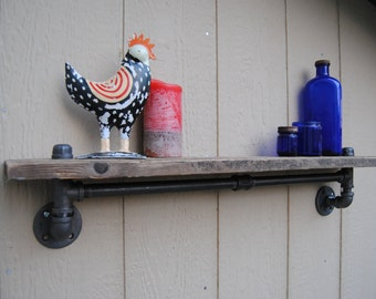 Industrial Pipe Shelf-Industrial Shelf-Barn wood shelf-Rustic Shelf-Industrial Pipe
