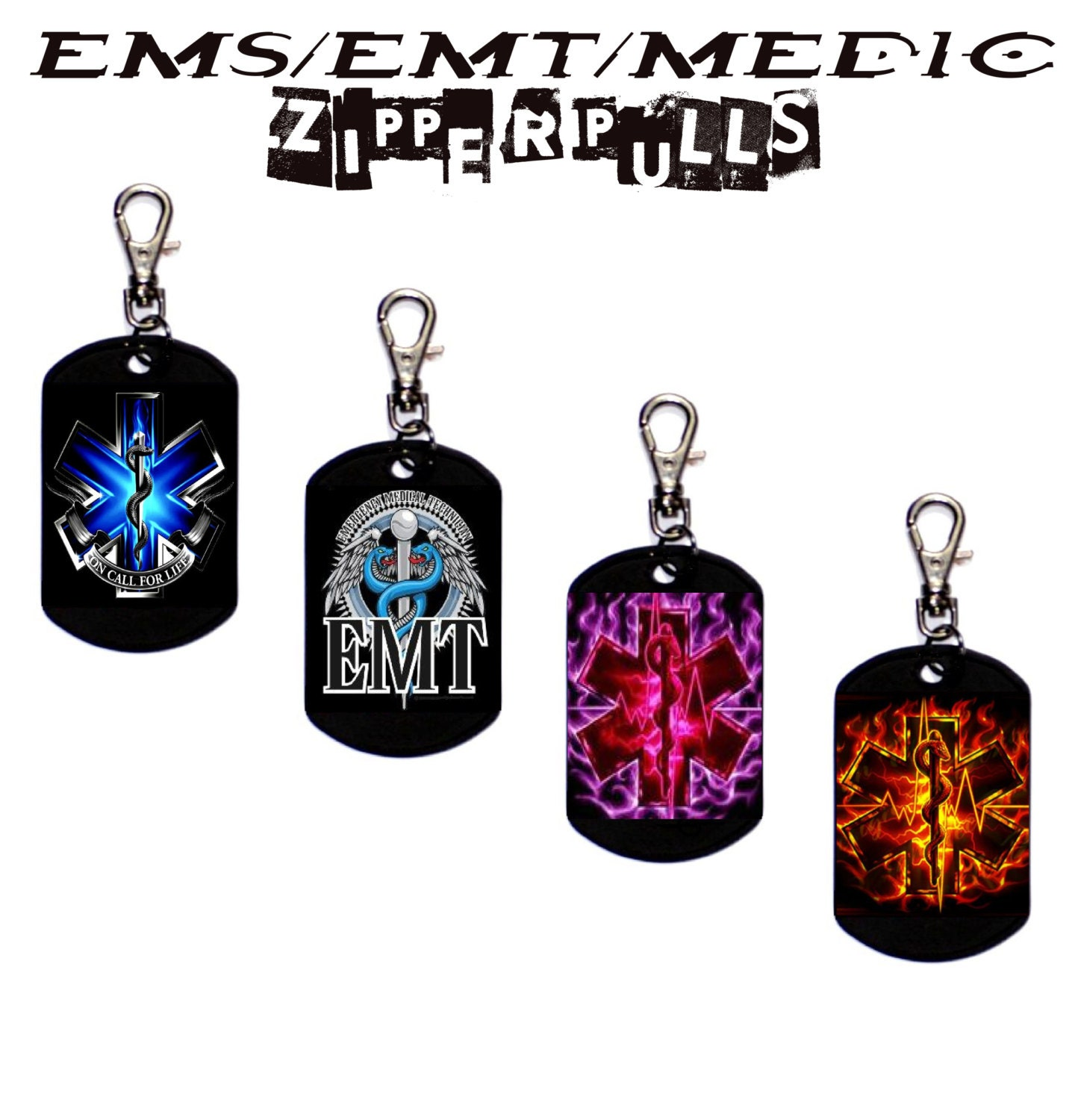 Ems Emt Medic Zipper Pull Dog Tag W Resin Finish Fire