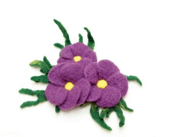 3 Purple Felted Flowers/Brooches
