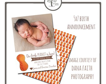 INSTANT DOWNLOAD - Digital Template -  Birth Announcement - N10 Little Peanut - PSD file