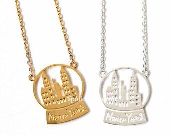 newyork necklace, newyork, snowball, nyc necklace, newyork city, newyork skyline, nyc jewelry, city necklace, skyline necklace