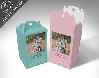 "Personalized ""Photo Frame"" Wedding Favor Boxes"