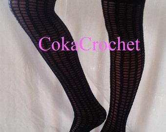 Crochet over knee lace socks - PDF pattern - INSTANT DOWNLOAD