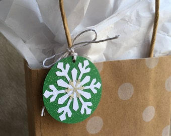 Holiday Gift Tags - Set of 6 - Double Snowflake on Green Glitter Cardstock