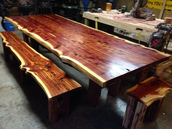 Cedar Table, Live Edge Table, Cedar Dining Set, Farm Table, Dining Set, Trestle Style Table
