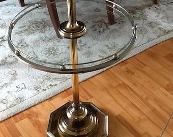 Brass/Glass Table Floor Lamp Marked Beacon1
