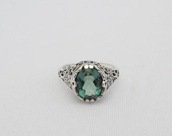 Vintage Sterling Silver Emerald Filigree Ring Size 6