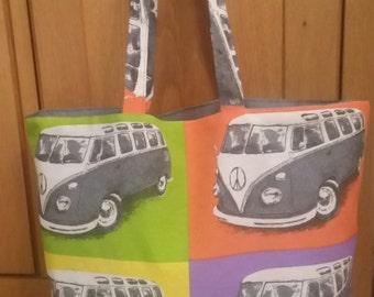 VW Tote bag, campervan shopping bag, VW, Campervan wv beetle, reversable bag,vw campervan bag ,campervan bag, retro bag,VW bag,handmade tote