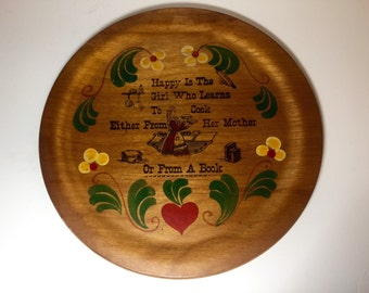 "Vintage 1970s Woodcroftery Wall Decor ""Happy is the Girl Who Learns to Cook Either from her Mother of from a Book"""