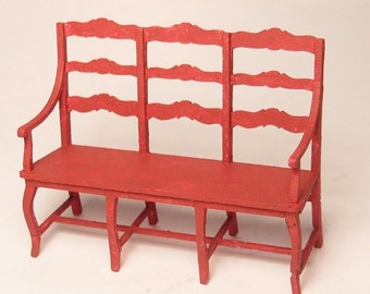 1:24 scale miniature dollhouse furniture kit French cottage bench