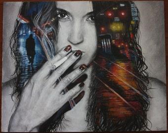 Realistic Painting Acrylic Portrait on Canvas (Cool Smoking Girl, Toronto City Night Lights) - original b&w colour medium smoker