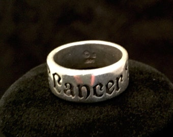Sterling silver, Cancer zodiac, ring