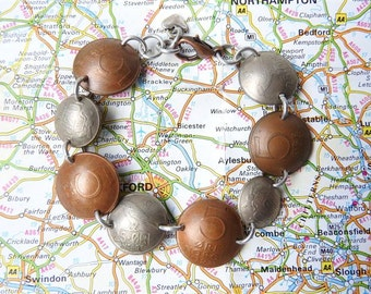 Norway bicolor curved coin bracelet - made of coins from Norway - Scandinavia - travel present