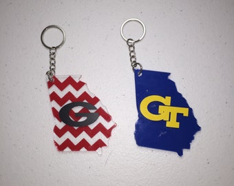 Georgia or Georgia Tech Keychain