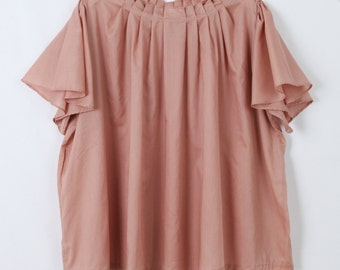 Women's Dusty Rose Loose Fit Pleated Gathered Neckline Boxy Blouse