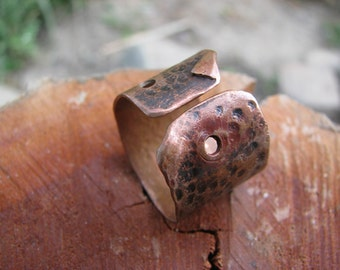 Copper scroll ring