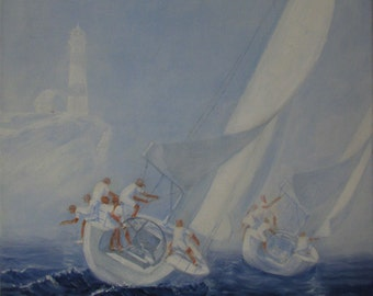 Yachts from the lighthouse, original image, oil on canvas