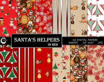 Santa's Helpers in Red - Digital Paper Collection 12x12