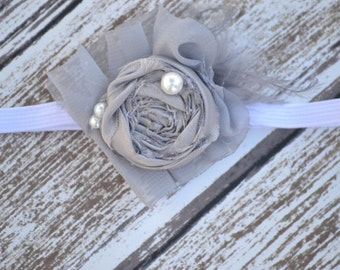 Newborn Headband, Rolled Flower Headband, Gray Headband