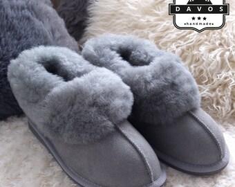 Women's Luxury Handmade 100% Genuine Hard EVA Sole Sheepskin Suede Fur Slippers grey color