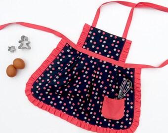 Sewing Kit - Pinafore Apron - Navy & Coral