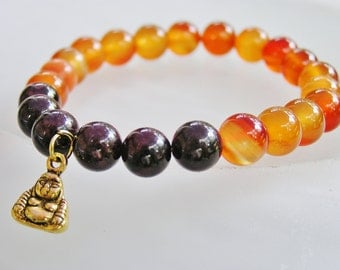 Crystal Healing Bracelet Buddha Yoga Mala Spiritual Soul Bracelet Blood Red Garnet Glowing Carnelian Stones Of The Artist.