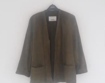 Womens vintage suede slouchy blazer Olive Green
