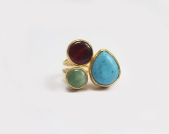 Gold-plated Brass Three Stone Ring with Turquoise, Garnet & Jade