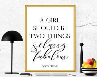 Coco Chanel Quote printable, quote printable, coco printable quote, women printbale, a girl should be two things, coco print, famous prints