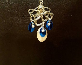 Deep Blue Octopus Necklace