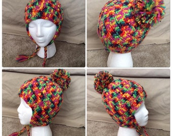 Rainbow color hat with pom pom