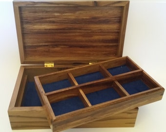 Jewellery box in Blackheart Sassafras and Tasmanian Blackwood with removable tray