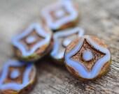 Blue Brown Czech Glass Beads / Rustic 14mm Bead / Artisan Jewelry Findings